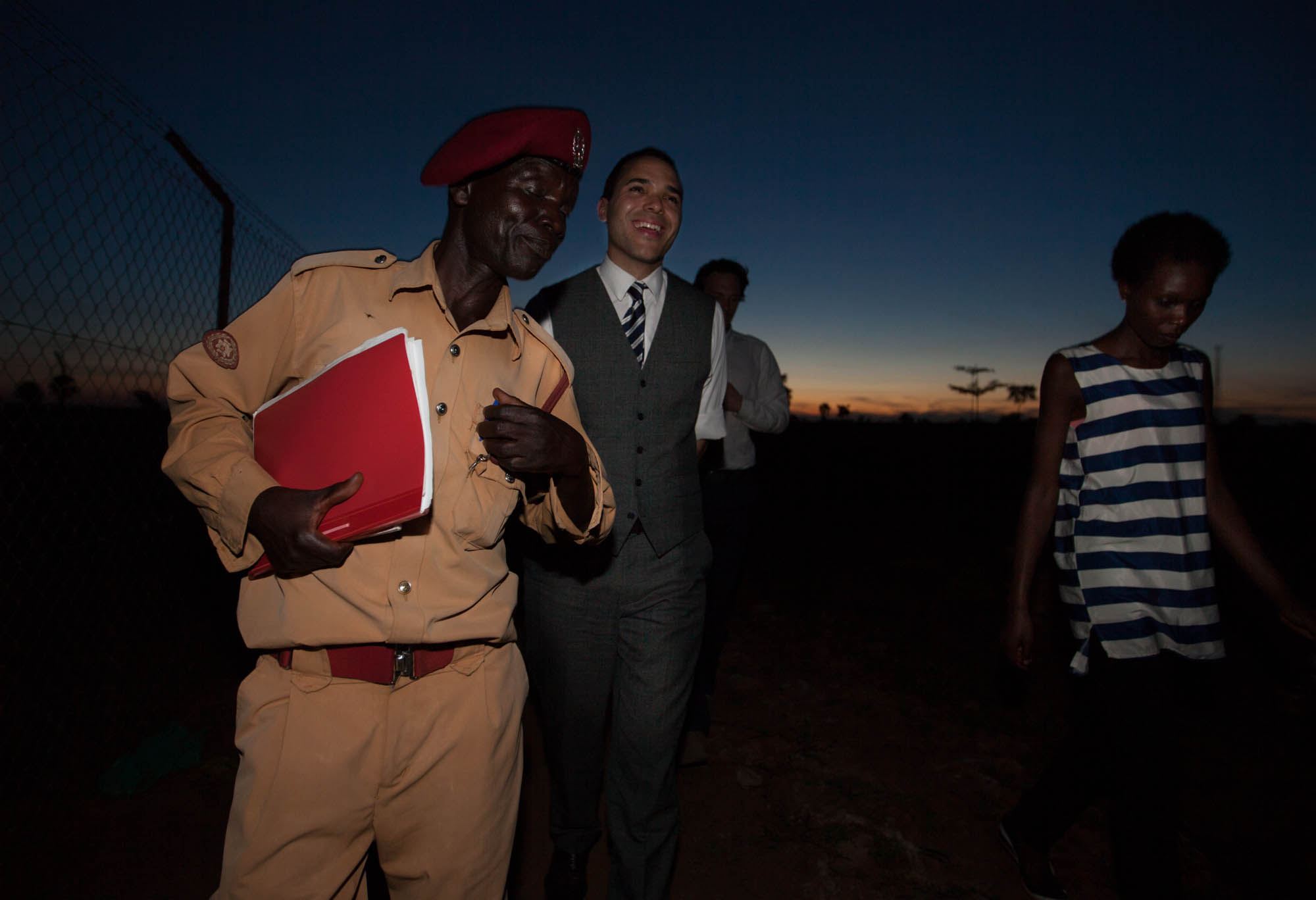 Paul, left, is a prison officer in Uganda who helped get 40 inmates released from prison. He's shown here with Alexander McLean and Agnes, who runs legal programs for the African Prisons Project in Uganda.