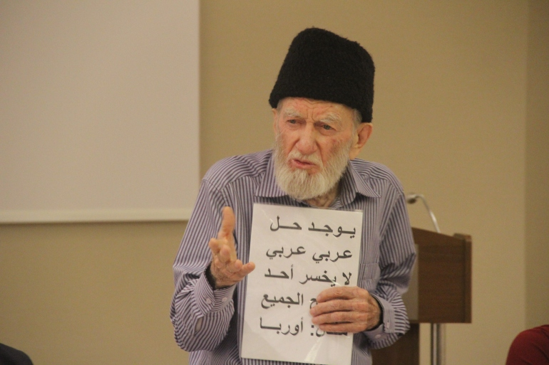 """""""This is a well known Syrian Muslim religious leader who was speaking about Islamic approach to conflict resolution and how to apply it in Syria."""" Photo courtesy of Aziz Abu Sarah"""