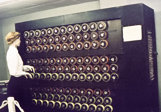 Mockup of a bombe machine at Bletchley Park. Image via Sarah Hartwell.