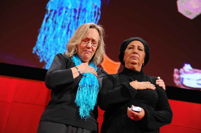 Phyllis Rodriguez and Aicha El-Wafi, whose son helped plan the 9/11 attacks, received a standing ovation for their powerful talk at TED Women in 2010. Photo by James Duncan Davidson/TED.
