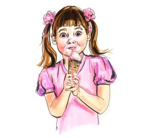 Girl eating ice cream. Illustration by Andrea Turvey