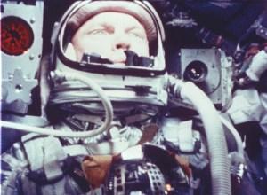 John Glenn eating applesauce in space, 1962. Photo courtesy of NASA.