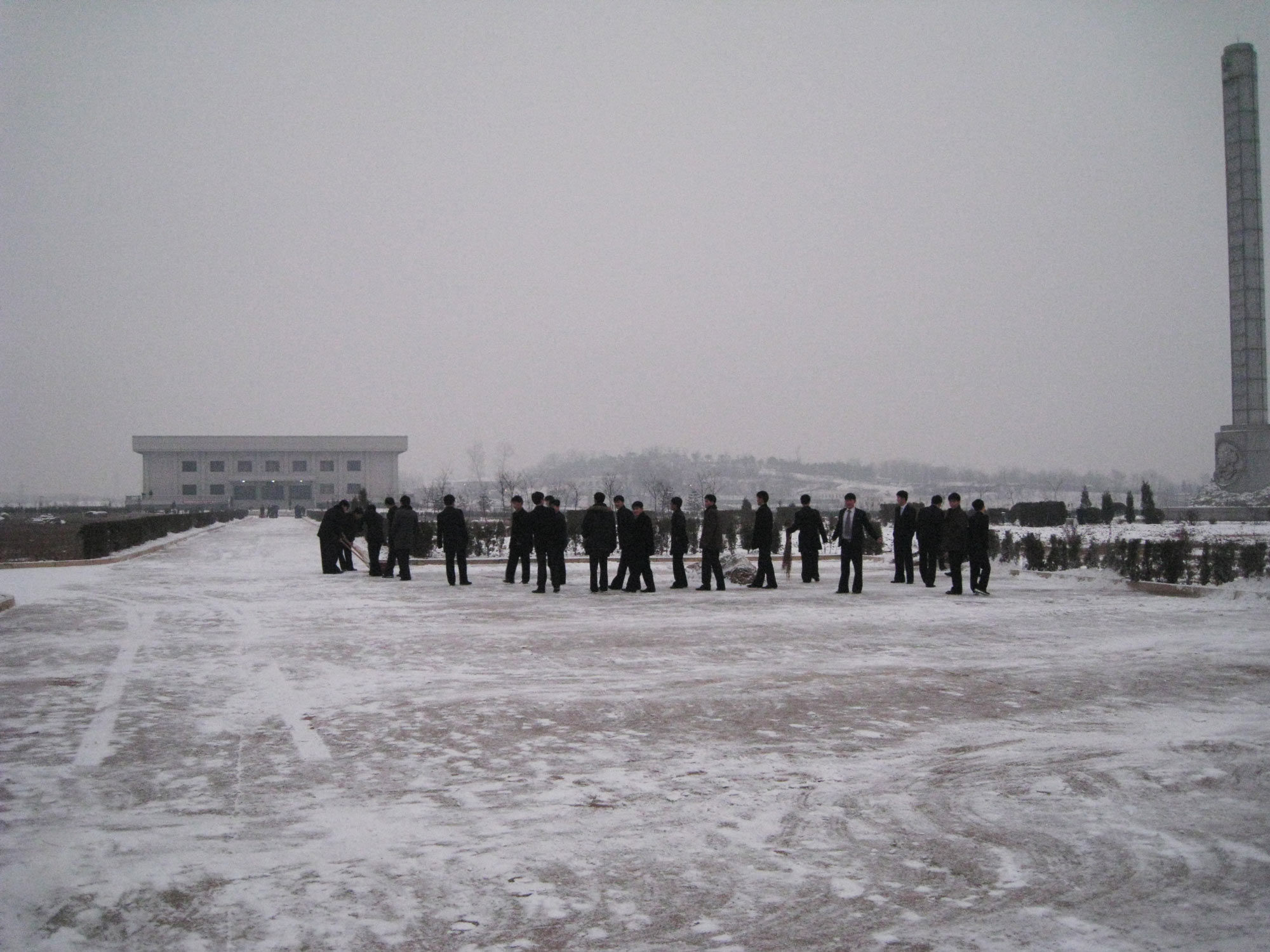 PUST students on a snowy day after an exam; Kim Jong-il's death would be announced just a few days later.