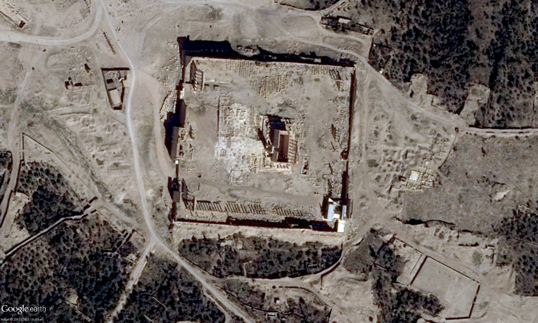 Satellite view of the Temple of Bel in Palmyra. Photo: Google Earth/Digital Globe.