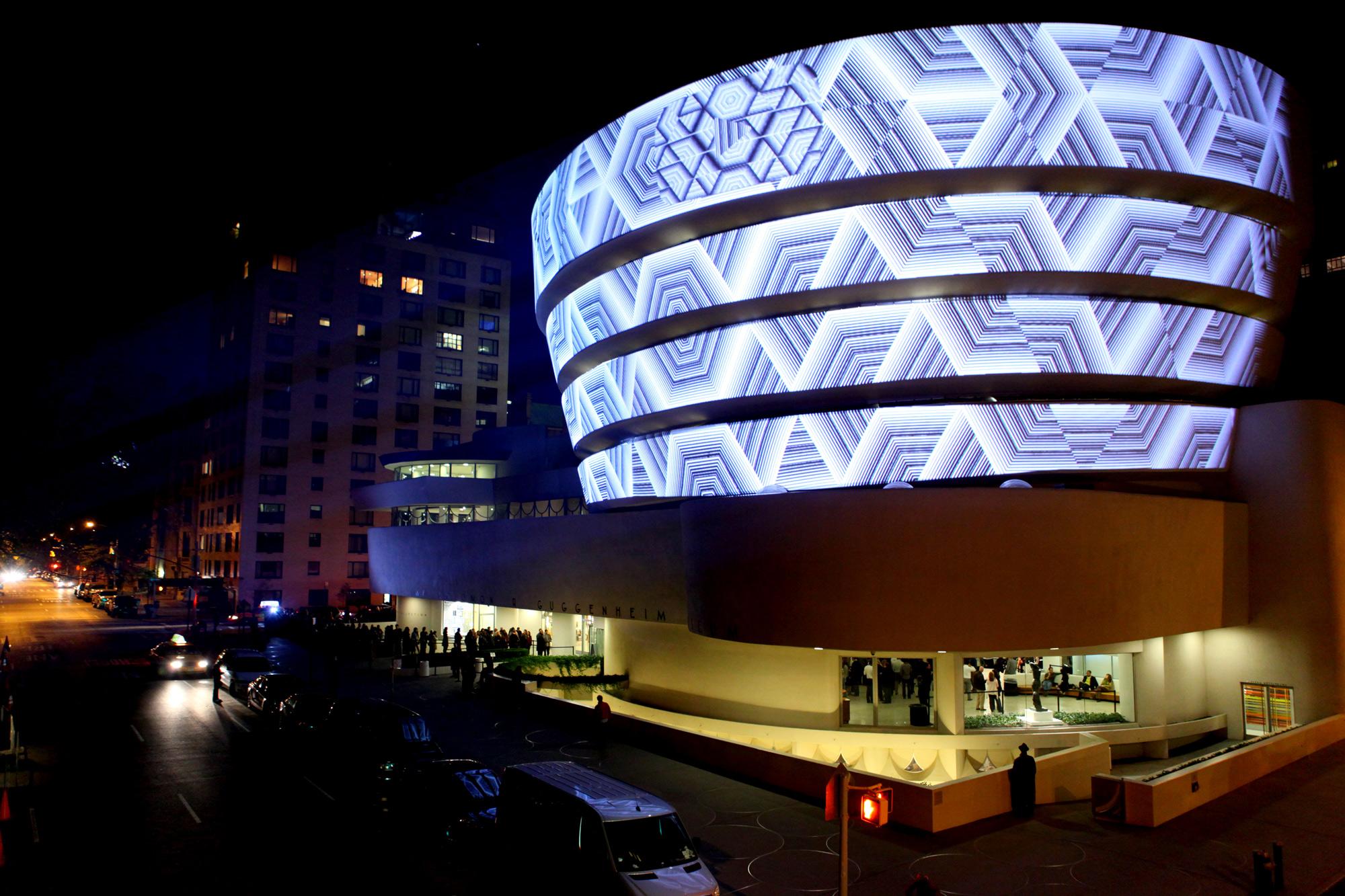Threlkel's projections on the Guggenheim Museum. Photo: Joshua Brott