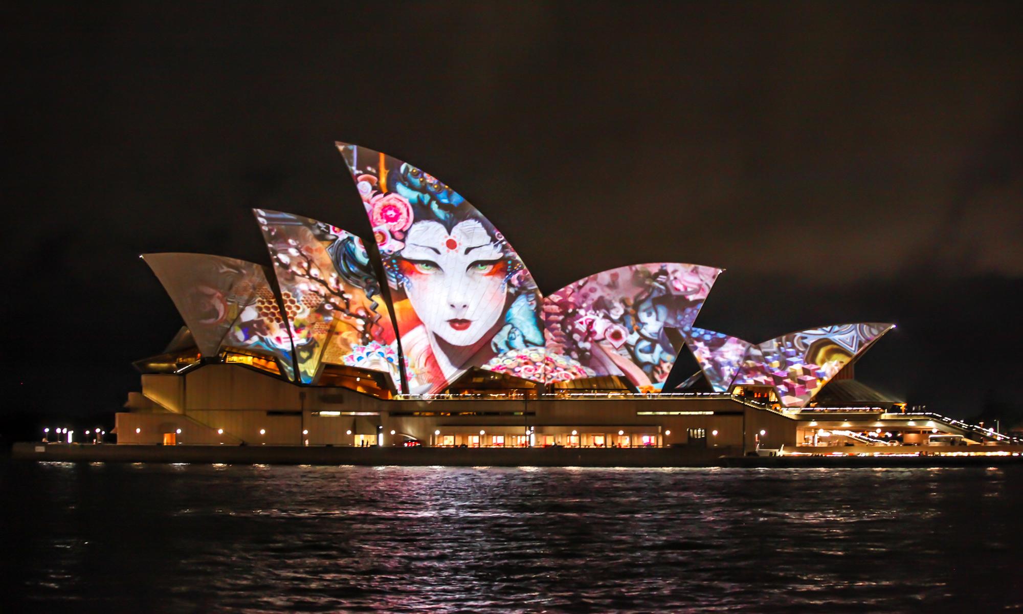 Threlkel's projections on the Sydney Opera House. Photo: Joshua Brott
