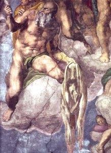 Aretino modeled as St. Bartholemew for Michelangelo.