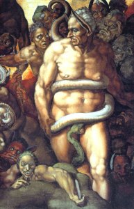 In The Last Judgement, Cesena is depicted with a snake wrapped around his torso twice, symbolizing that he will go to Hell for being lustful.
