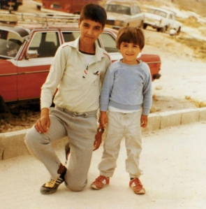 Aziz (right) with his older brother Tayseer (left) in Bethany, Palestine.