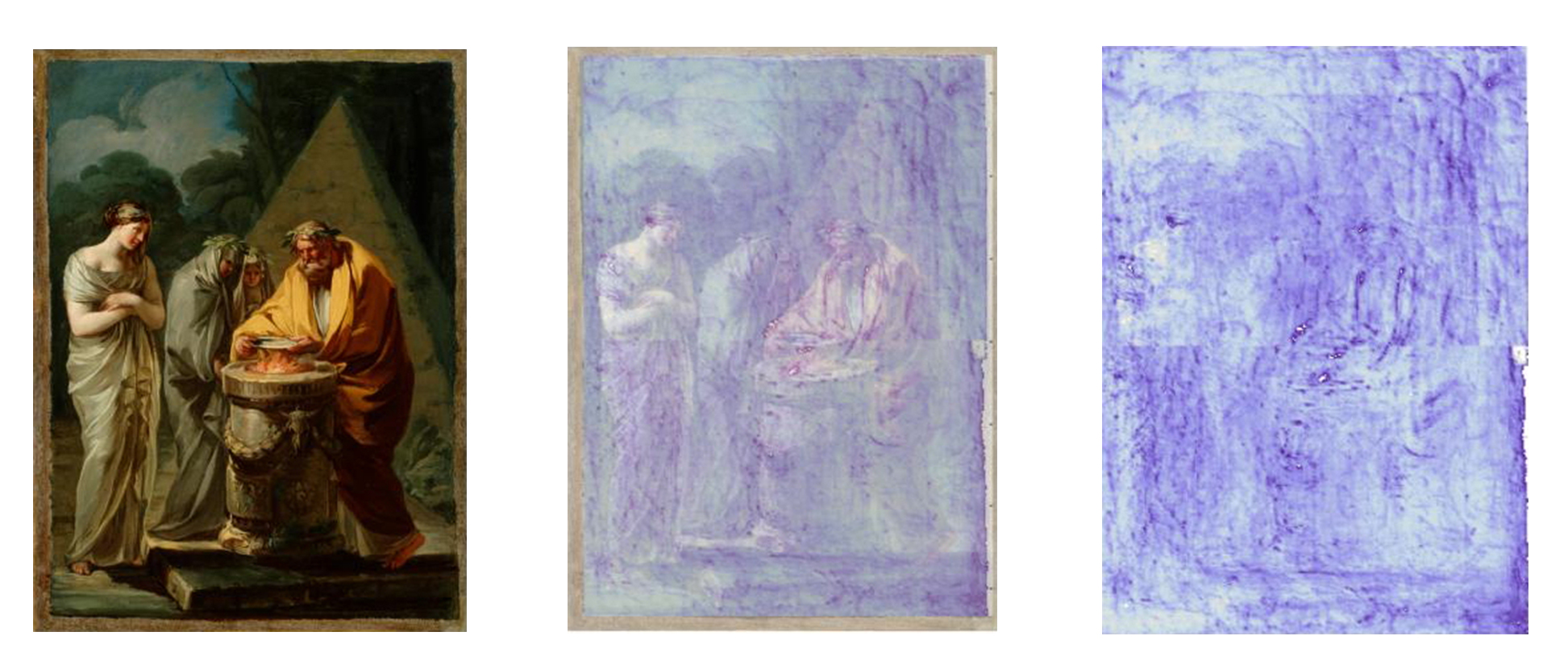 From left to right: Image of Goya's paining, The Sacrifice to Vesta; the same painting with 50% THz visible; 100% THz view of the painting. mage courtesy Albert Redo-Sanchez/MIT Media Lab